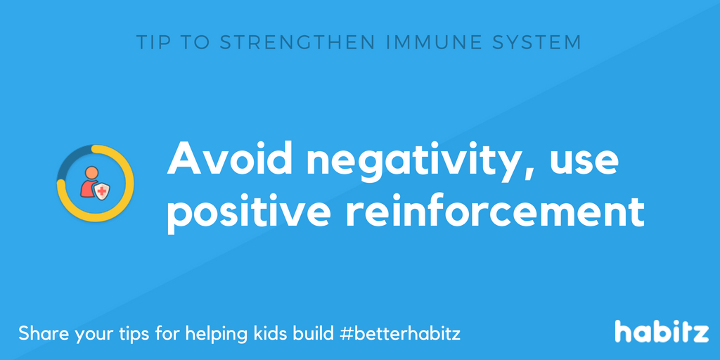 Avoid negativity, use positive reinforcement Habitz